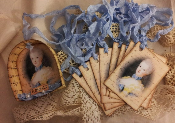 Niche Ornament and 8 Gift Tags Marie Antoinette French Gusatvian Inspired
