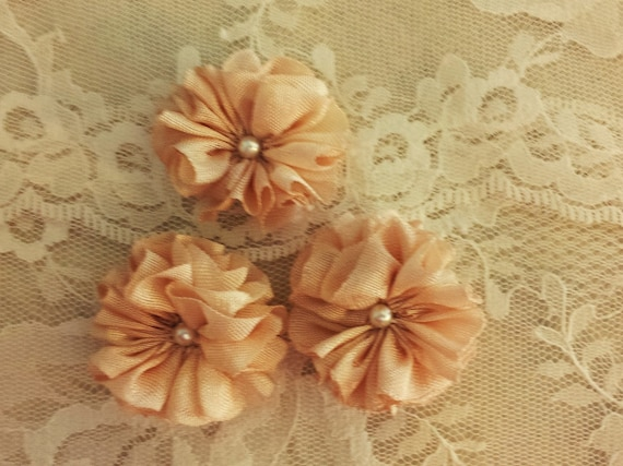 Three Small Seam Binding Hand Made Flowers With Pearl Center Shabby French Gustavian Boho Embellishment