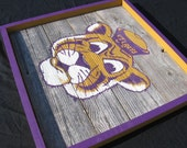 Custom listing for Amanda-LSU Tiger Painting on Large Wooden Panel