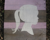Custom Silhouette Painting Portrait on Wooden Panel-LARGE-Unique Gift-Picture Frame-Photo