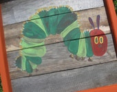 Hungry Caterpillar Small Painted Wooden Panel-Child Painting-Birthday Party or Wall decoration