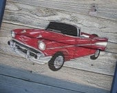 Antique Car Painted on Wooden Panel-Old Wood-Boy Wall Art-Vintage