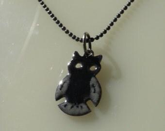 Black and Grey Enamel Owl Pendant