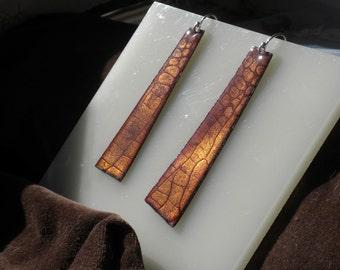 Golden  Alligator Print Enamel Earrings