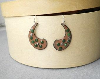 Tan and Green Paisley Enamel Earrings