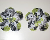 Modern Green, Gray, Black, White Butterfly and Flower ribbon bow