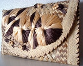 Vintage Woven Straw Envelope Clutch