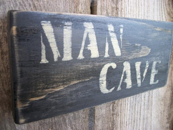 Man Cave Sign Black Distressed  Rustic Primitive Wood Small  Wall Hanging Fathers Day Dad Sign
