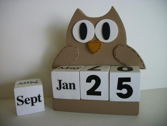 Owl Calendar Perpetual Wood Block Light Brown Owl Decor