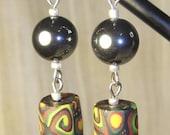Hematite/African Print Handmade Polymer Clay Trade Bead Earrings