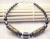 African Print Polymer Clay Bead Hematite Bracelet