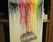 SALE Melted Crayon Art: Rainbow Rain