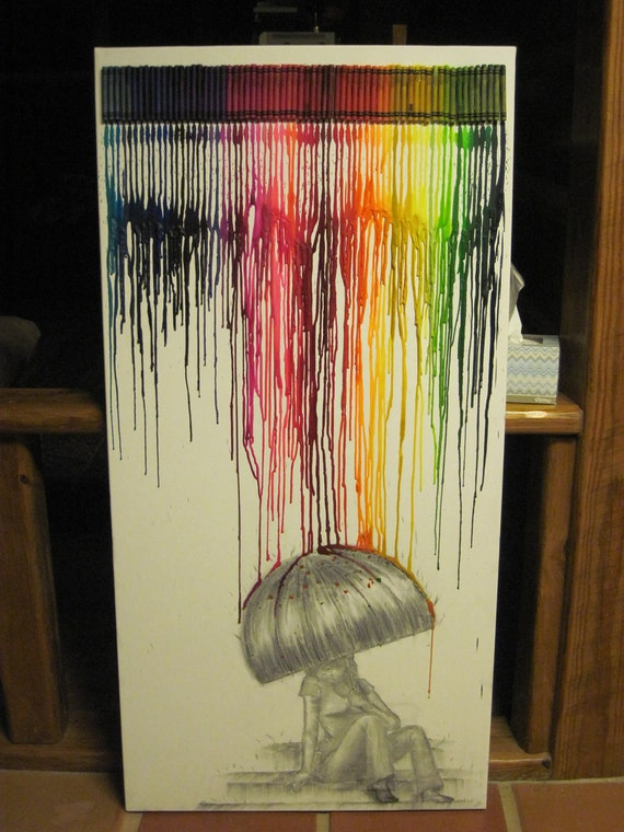 SALE Melted Crayon Art: Rainbow Rain