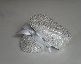 Diamonds And Pearls Completely Covered Swarovski Crystal Rhinestone Shoes Bling Baby Shoes