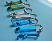 FOUR personalized bottle opener groomsman gifts keychain hand stamped