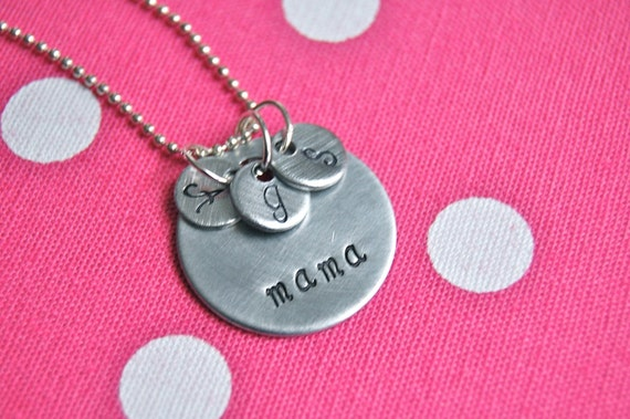 mama's LITTLE LOVES necklace , personalized, hand stamped