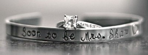 Soon to be Mrs. (any name here) bride, custom SKINNY hand stamped cuff bracelet