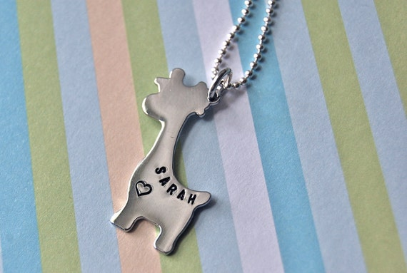 Personalized giraffe custom hand stamped necklace
