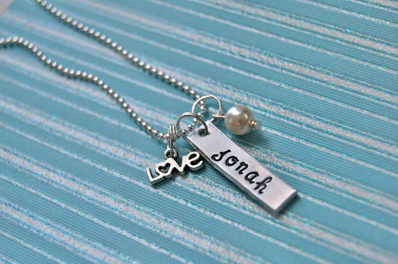 tag, love charm, and pearl, personalized initials or name, handstamped necklace