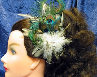Peacock Fascinator Ivory and Peacock Wedding Fascinator Natural Peacock Prom Fascinator Peacock Quinceanera Fascinator