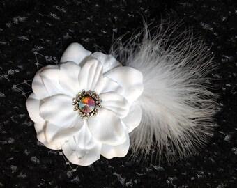 White Bridal Hair Piece, Dazzling AB Accent Wedding Flower, Elegant Bridal Fascinator, Wedding Fascinator, White Bridal Headpiece
