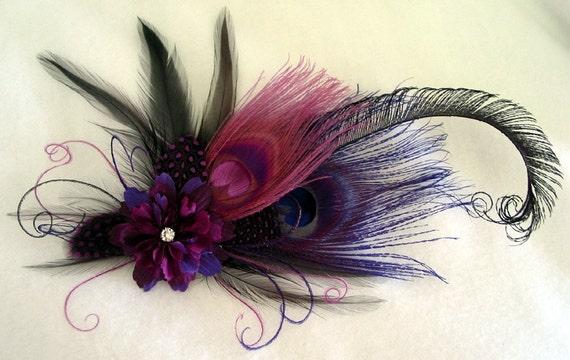 Bridal Fascinator, Wedding Fascinator, Bridal Headpiece Hairpiece, Aubergine Eggplant Purple Peacock Fascinator