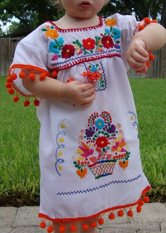 Hand Embroidered Pom Pom Puebla Girl Mexican Dress