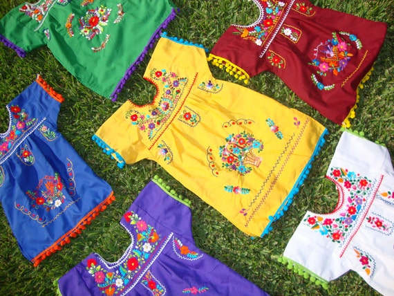 FREE SHIPPING Hand Embroidered Pom Pom Puebla Girl Mexican Dress