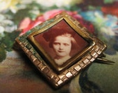 Antique Mourning Square Collar Brass Mourning Brooch Soft Brown Sepha Tone