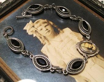 Antique Black Mourning Bracelet Jet Black Glass Mourning Little Boy Vintage Silver Charm