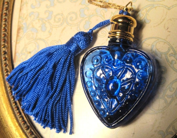 Convo for Discount Code French Evening in Paris Vintage Colbalt Blue Glass Perfume Pendant Antique Chain Necklace