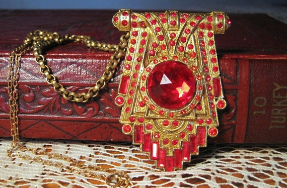 1920s Art Deco Red Glass Stoned Metal Necklace Partial Orginal Chain