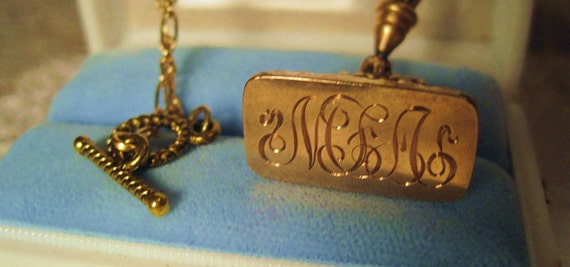Antique Victorian Gold Watch Fob/Wax Seal with Original Hook Connector 22kt Goldplate Chain with a Toggle Connector