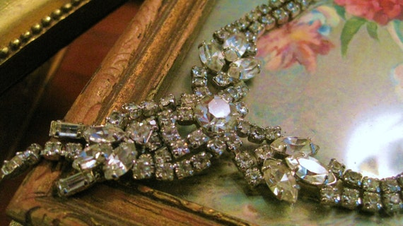 Early Spectacular White Rhinestone Necklace Large Round and Baguette and Marquise Stones