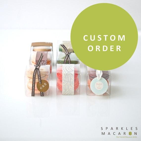 Custom Order for Elizabeth - 150 Ribbon and Tag Macaron Favor (M)