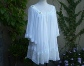 A vintage dreamy hippie 1970s white embroidery lace top or dress size S M L