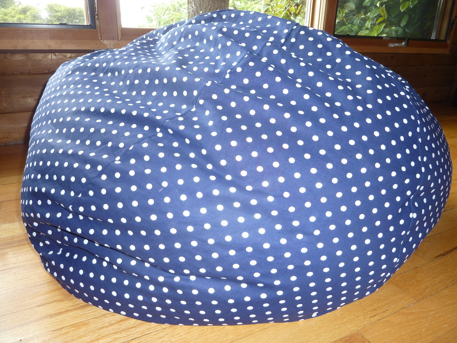Navy Blue With White Polka Dot Bean Bag Chair Cover