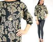 SALE... Vintage Metallic Gold LEAVES Print Sweater S/M