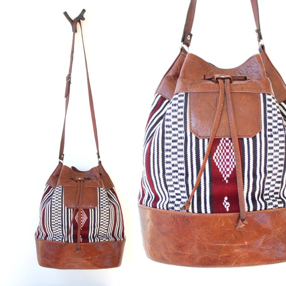 Vintage Ethnic Woven Large Bucket Bag