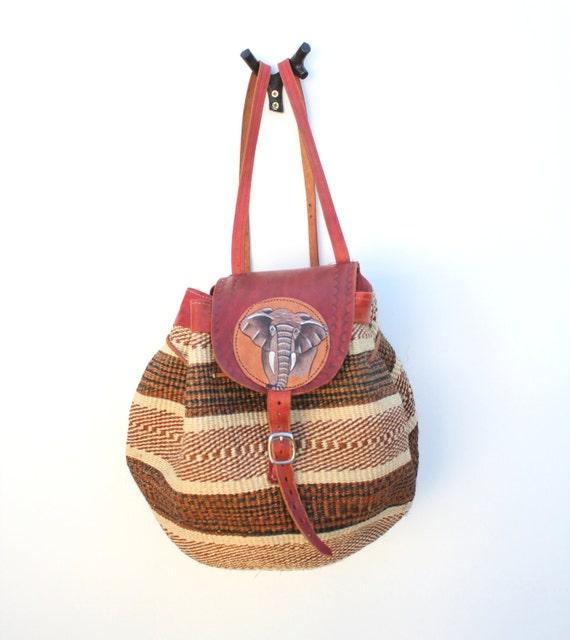 Vintage ELEPHANT Leather Jute Woven Rucksack- BRAND NEW