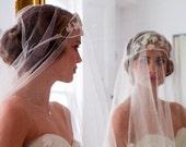 A Midsummer Nights Dream,Art Nouveau,1920s style Bridal Headdress,Tiara, Headpiece,wih silk tulle and velvet leaves.