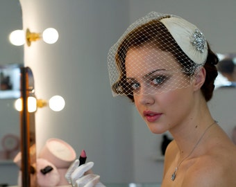 Vintage style Bridal Headdress with detachable Birdcage veil in pleated silk. White, ivory, cream, champagne, black, blue, pink. AgnesHart