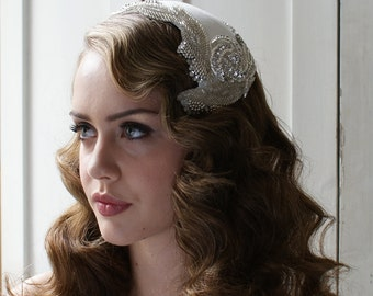 Art Deco  Headpiece, Wedding accesory 'Silver Screen Goddess' white, ivory, cream, champagne, black