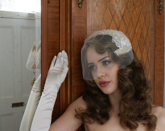 Bridal headpiece and tulle blusher veil, Art Deco Style, Silver Screen Goddess, white, ivory,champagne,pink.