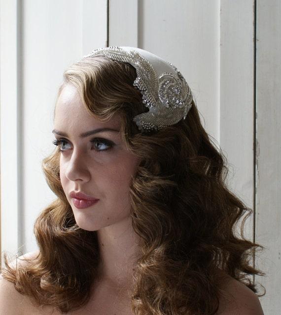 Art Deco  Headpiece, Wedding accesory 'Silver Screen Goddess' white, ivory, cream, champagne, black