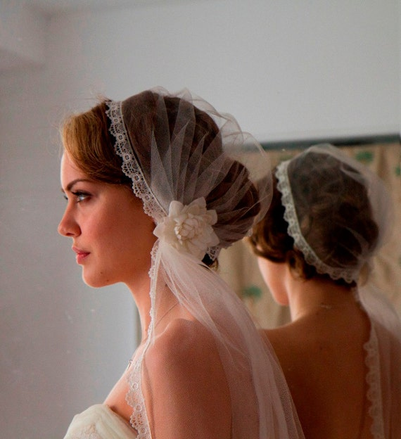 Juliet Cap with Wedding Veil in English Silk tulle, lovely lace edge and Vintage Bridal Hair Flower