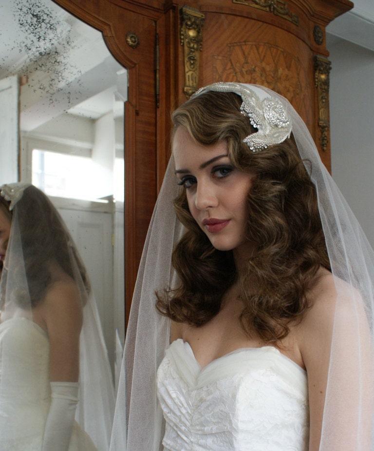 Silk Wedding Veil And Art Deco Headpiece. Silver Screen