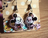 Mickey and Minnie Mouse dangle earrings