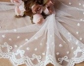 10cm white embroider bow and dot lace trim--- princess