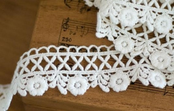 white cotton lace trim --- cross and rose